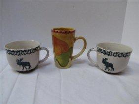 (3) Country Style Coffee Mugs