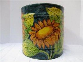 Sunflower Motif Mexican Crock