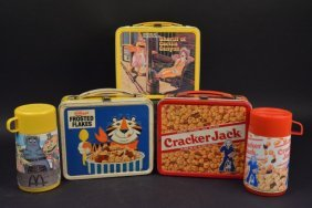 (3) Vintage Advertising Lunch Boxes (2) Thermoses