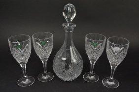 Shannon Crystal Decanter W/ (4) Stemware Glasses