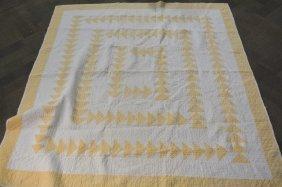 Hand Made Cream & Yellow Quilt, Geometrical Design
