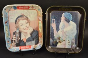 (2) Coca-cola Advertising Tin Trays