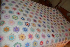 Handstithed Grandmother's Flower Garden Quilt