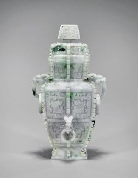 ARCHAISTIC CARVED JADEITE URN & COVER