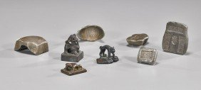 Group Of 8 Chinese Metal Weights