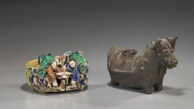 Two Chinese Glazed Pottery Vessels