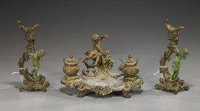 Continental Bronze Candleholders & Desk Piece