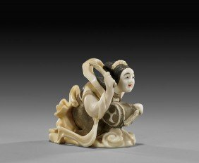 Carved Ivory Netsuke: Celestial Beauty