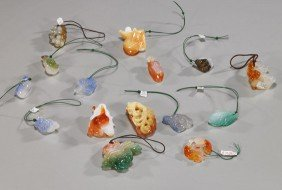 Collection Of Carved Agate Toggles/Pendants