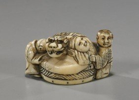 Antique Ivory Netsuke: Figures & Shi-shi