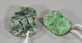 Two Chinese Carved Jadeite Brooches