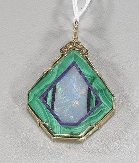 Unusual Inlaid Malachite & Opal Pendant