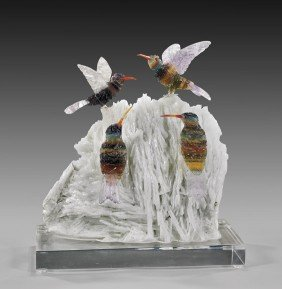 TOURMALINE HUMMINGBIRD FAMILY ON FLUORITE