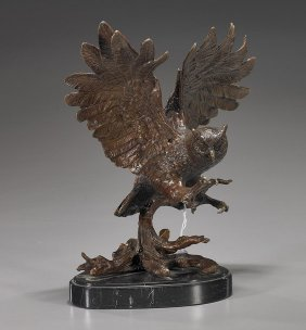 Bronze Model Of A Flying Owl