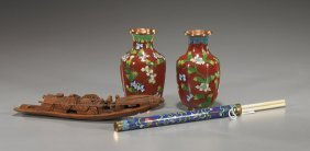 Three Chinese Cloisonn� Items & Bamboo Boat