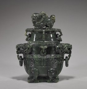 Massive Chinese Carved Spinach Jade Censer