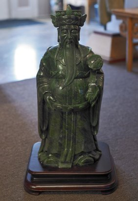 Massive Chinese Carved Spinach Jade Figure