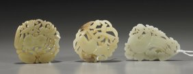 Group Of Three Chinese Carved Jade Plaques