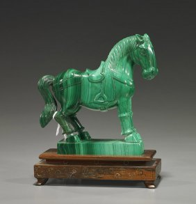 Chinese Carved Malachite Standing Horse