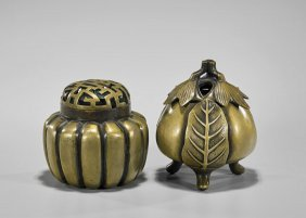 Two Gilt Bronze Covered Incense Burners