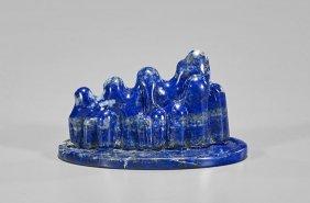 Carved Lapis Lazuli 'mountain' Brushrest