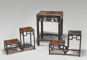 Three Small Chinese Carved Hardwood Pedestals