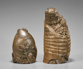 Two Chinese Bamboo Carvings: Lohan & Peach