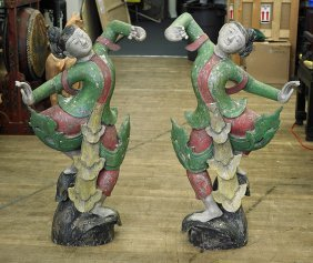 Pair Tall Southeast Asian Wood Dancers
