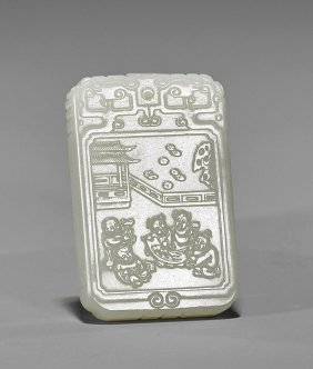 Small Carved Celadon Jade Plaque: Boys