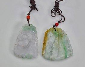 Three Carved Jadeite Pendants