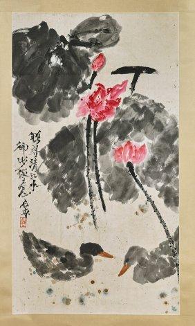 Two Chinese Paper Scrolls: Pink Lotus