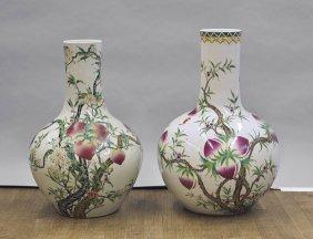 "Pair Chinese ""nine Peach"" Porcelain Vases"