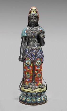 Tall Chinese Cloisonné Enamel Guanyin