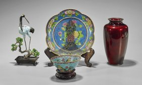 Four Chinese & Japanese Enamel Items