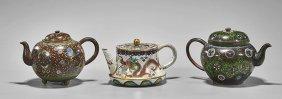Three Cloisonné Enamel Teapots