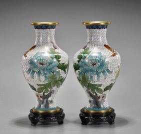Pair Old Chinese Cloisonné Vases