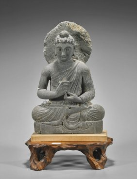 Antique Carved Stone Gandhara Buddha