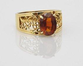 Ladies' 18k Gold & Garnet Ring