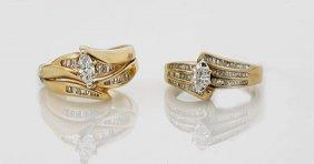 Two 14k Yellow Gold & Diamond Ring Sets