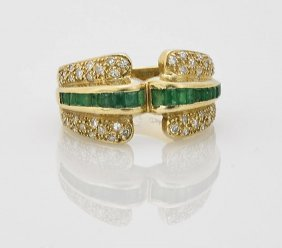 Ladies' 14k Gold, Emerald & Diamond Ring