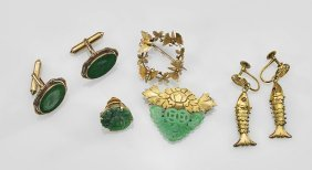 Seven Jewelry Items: Pins, Cufflinks, Earrings