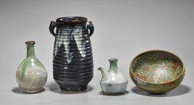 Four Japanese Glazed Earthenwares