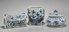 Three Xuande-style Blue & White Porcelains