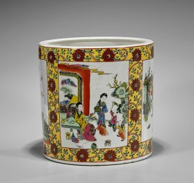 Massive Famille Rose Porcelain Brushpot