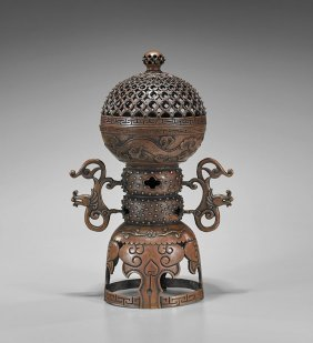 Tall Chinese Bronze Covered Incense Burner