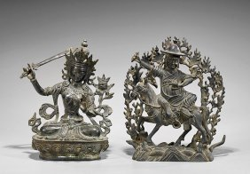 Two Seated Bronze Buddhist Figures