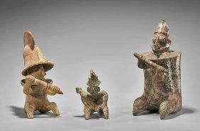 Three Pre-columbian Pottery Seated Warriors