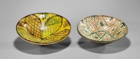 Two Antique Persian Nishapur Earthenware Bowls
