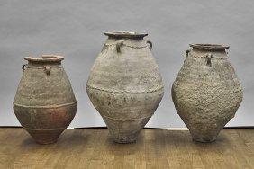 Three Omani Black Glazed Transport Jars