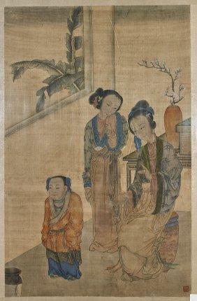 Large Antique Chinese Silk Painting: Ladies